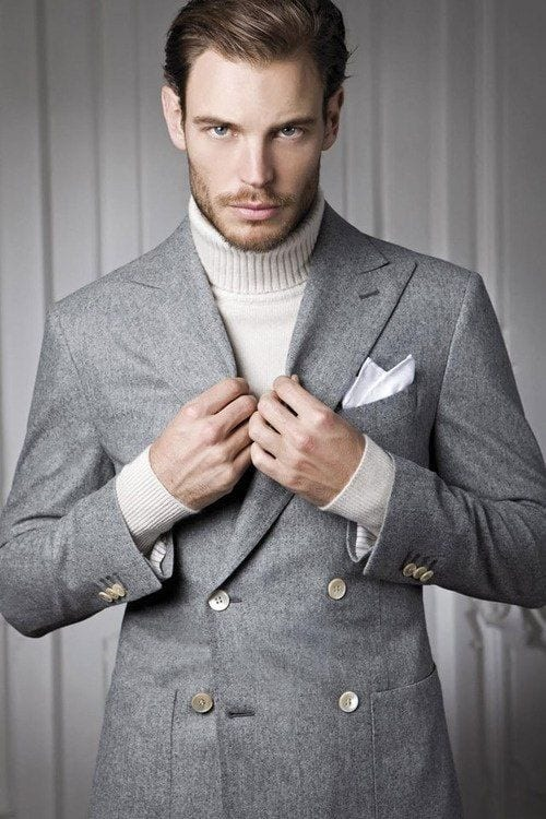 Turtleneck Sweater With A Double Breasted Suit Best Fashion Blog
