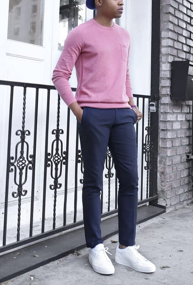 Pink Sweat Shirt with Navy Blue Chinos