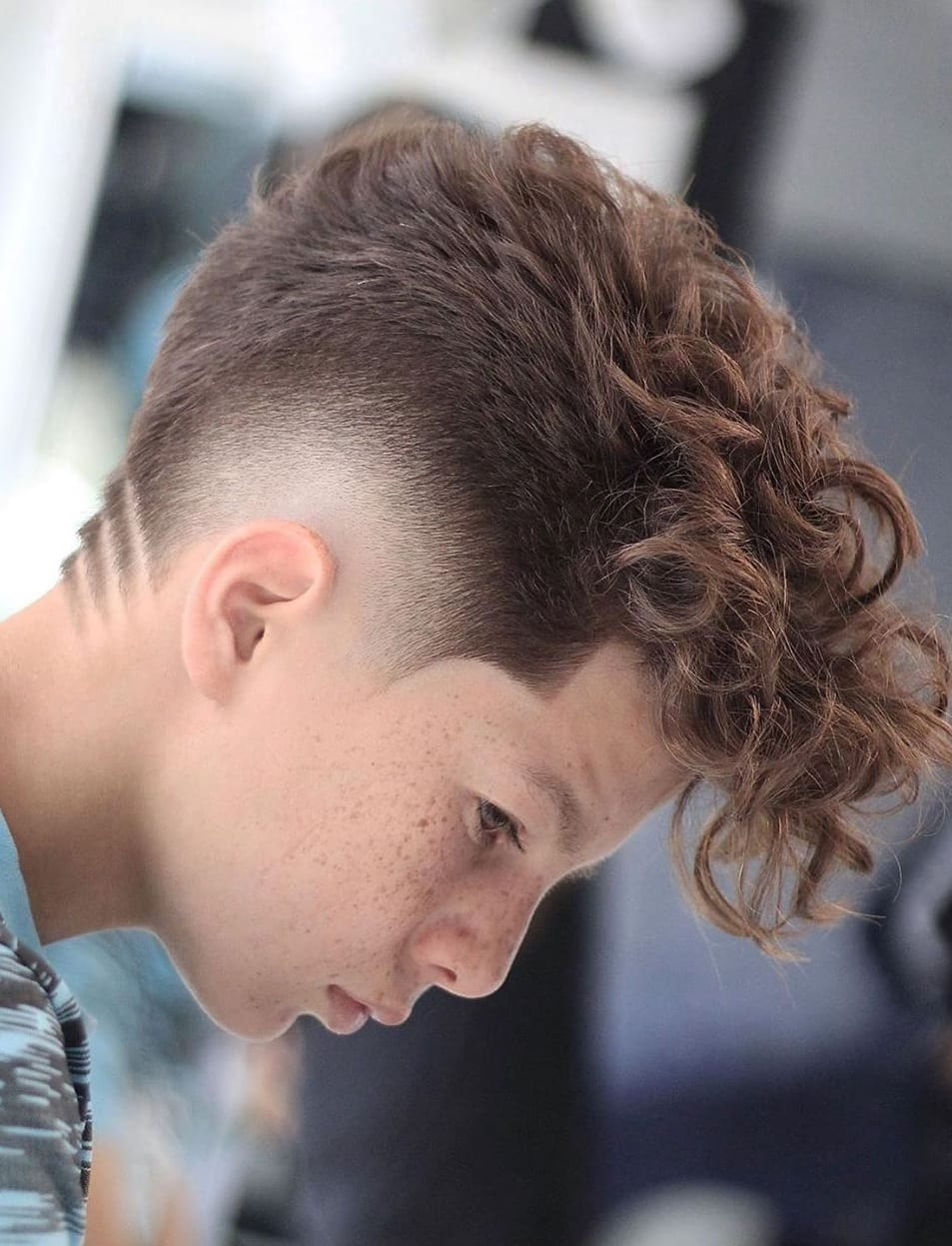 Curly Hair Mohawk And Fade Kids Haircut For Boys ⋆ Best